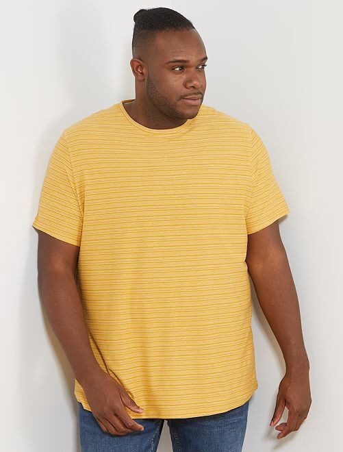 T-shirt rayures jacquard                                                     jaune Grande taille homme
