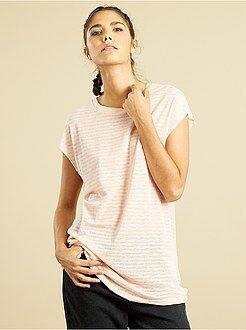 T-shirt, débardeur rose - T-shirt rayures maille dévorée