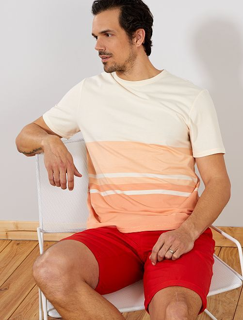 T-shirt regular colorblock +1m90                             orange/corail Homme de plus d'1m90