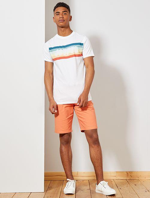 T-shirt regular coton bio imprimé                                                     blanc Homme
