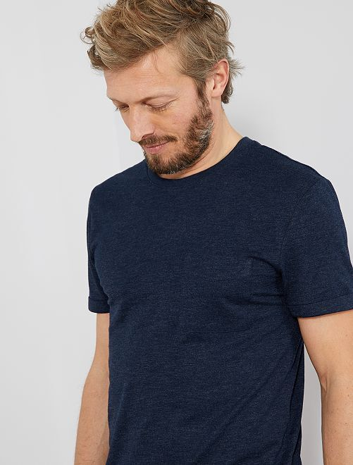 T-shirt regular en coton bio                                                                                                     bleu marine chiné Homme