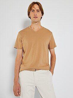 T-shirt regular en coton col V - Kiabi