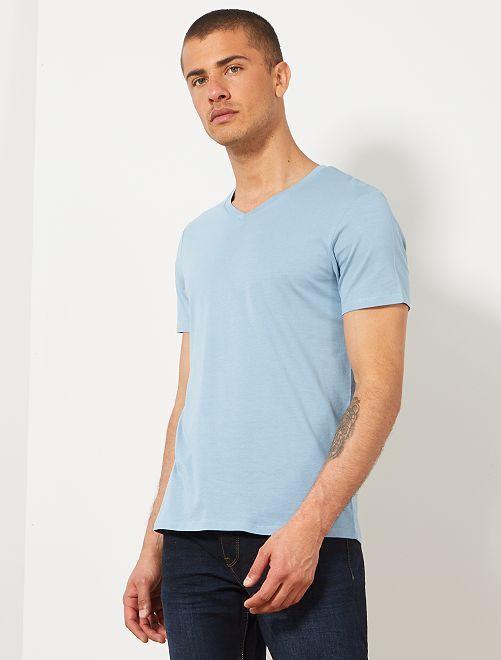 T-shirt regular en coton col V                                                                                                                                                                                                                             bleu gris Homme