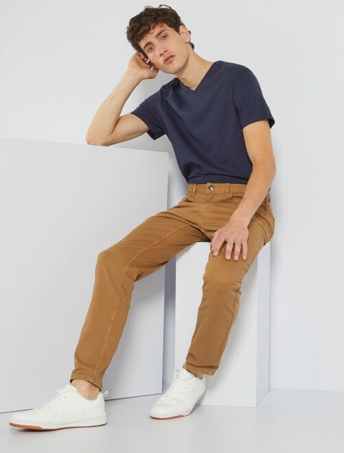 T-shirt regular en coton col V                                                                                                                                                                                                                             bleu marine