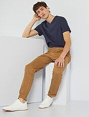 T-shirt regular en coton col V