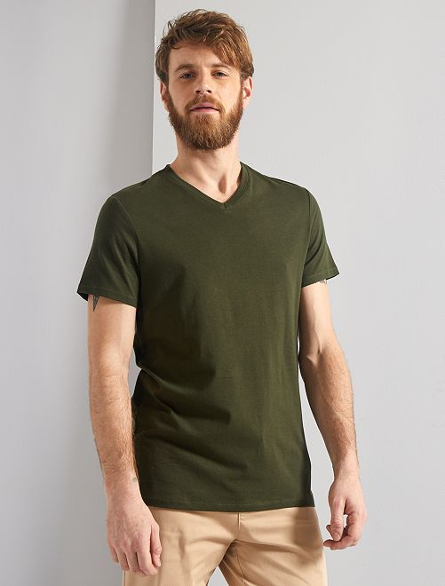 T-shirt regular en coton col V                                                                                                                                                                                                     kaki