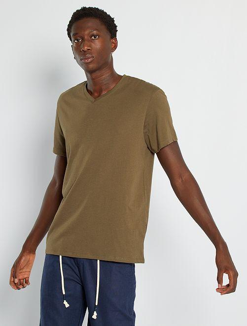T-shirt regular en coton col V                                                                                                                                                                                                                                         kaki