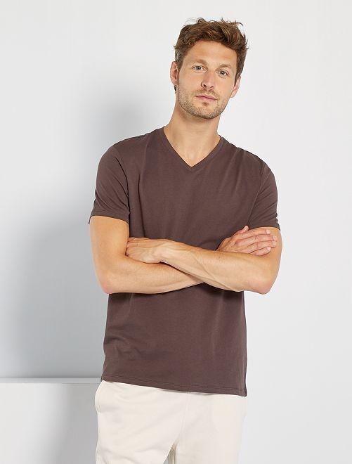 T-shirt regular en coton col V                                                                                                                                                                                                                                         marron