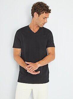 T-shirt - T-shirt regular en coton col V - Kiabi