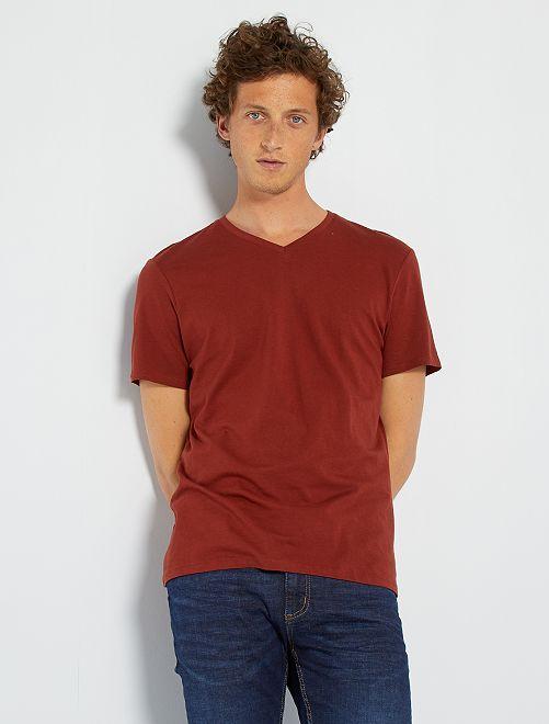 T-shirt regular en coton col V                                                                                                                                                                                                                                         orange brique