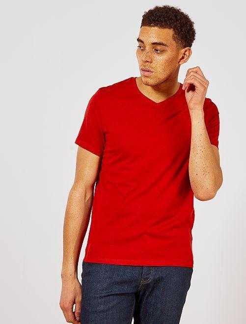 T-shirt regular en coton col V                                                                                                                                                                                                                             orange ketchup Homme