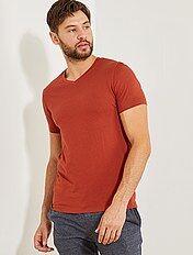 T-shirt regular en coton col V