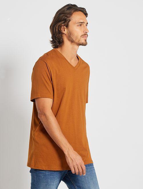 T-shirt regular en coton col V                                                                                                                                                                                                     rouille