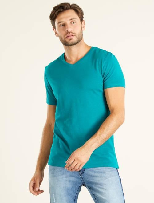 T-shirt regular en coton col V                                                                                                                                                                                                                 VERT