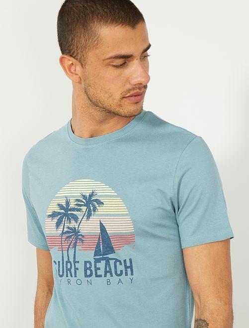 T-shirt regular imprimé Eco-conception                                                                                                                                         BLEU Homme