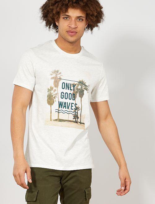 T-shirt regular imprimé Eco-conception                                                                                                                 écru chiné Homme