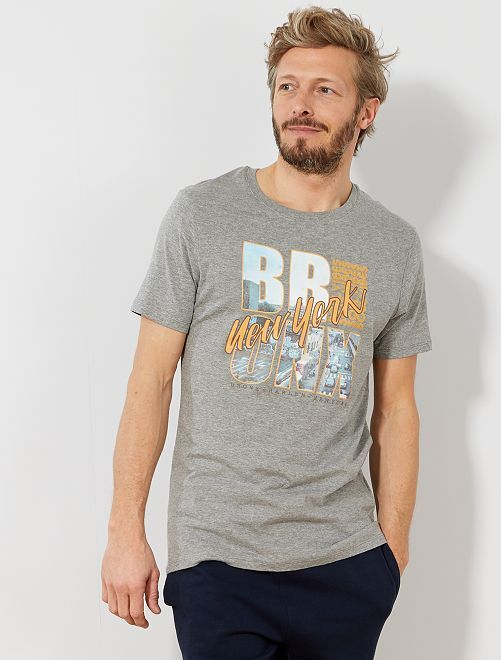 T-shirt regular imprimé Eco-conception                                                                                                                     gris clair chiné bronx Homme