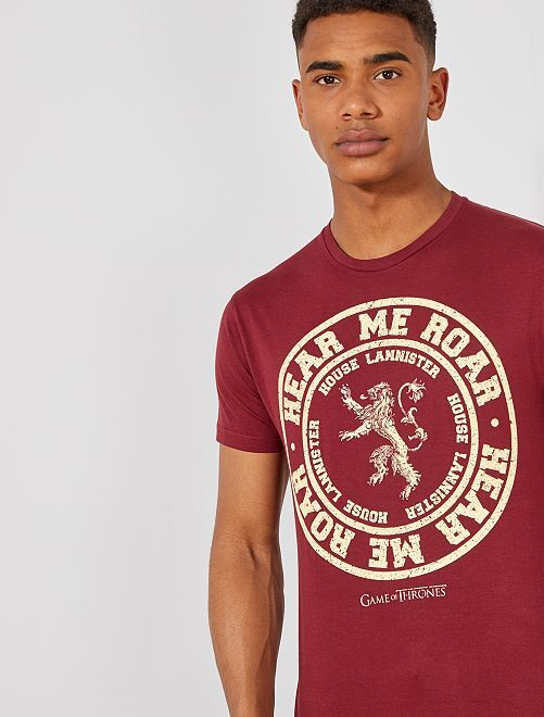 T-shirt regular imprimé 'Game of Thrones'                             bordeaux Homme