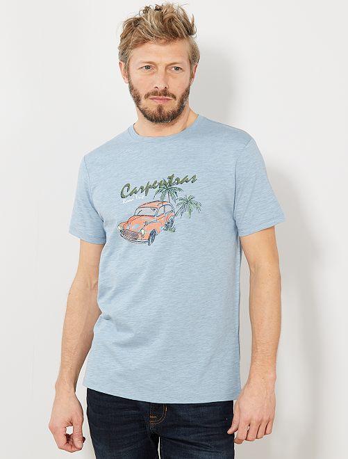 T-shirt regular imprimé voiture                                         bleu gris pâle Homme