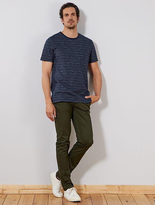 T-shirt regular maille relief +1m90                             bleu marine Homme de plus d'1m90