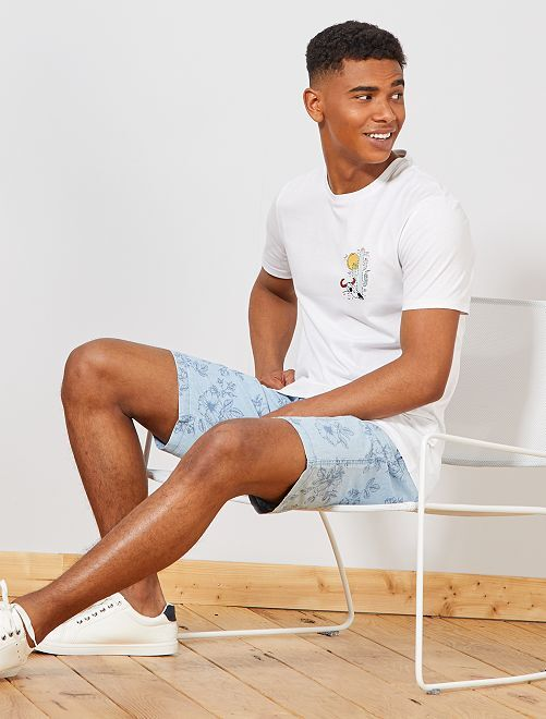 T-shirt regular motif brodé                             blanc Homme