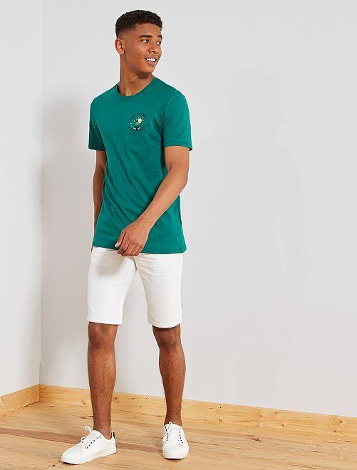 T-shirt regular motif brodé                                                                             vert Homme