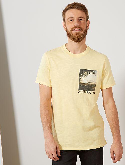 T-shirt regular photoprint                                                                             jaune pâle Homme