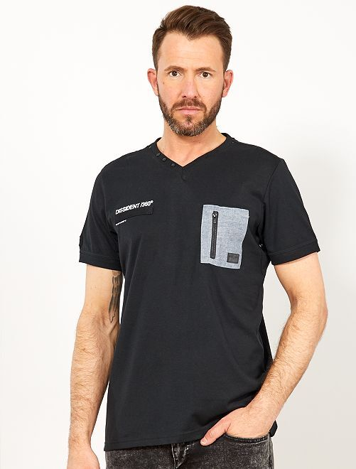 T-shirt regular poche poitrine                             noir