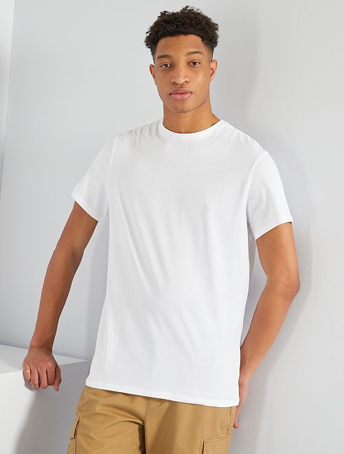 T-shirt regular pur coton +1m90                                                                                         blanc