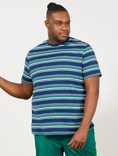 T-shirt regular rayé                                         bleu marine/vert/blanc Grande taille homme