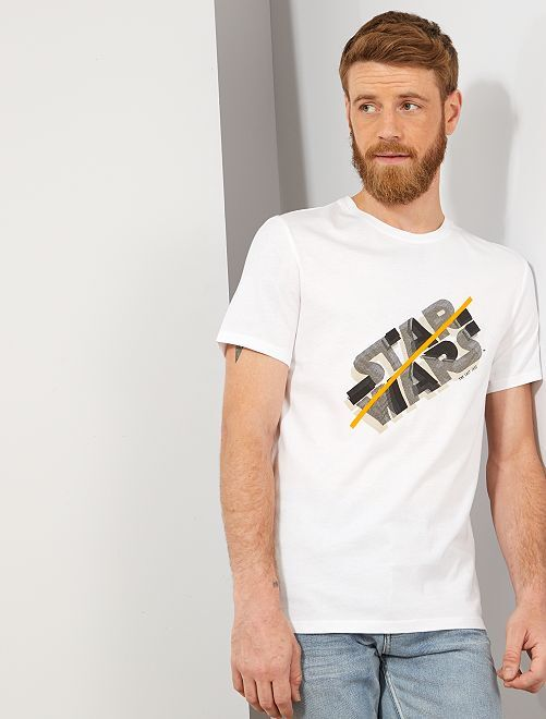 T-shirt regular 'Star Wars'                             blanc Homme
