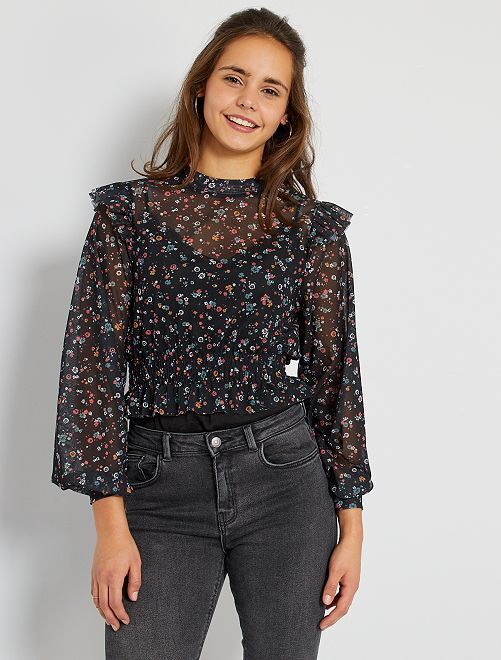 T-shirt résille imprimé fleuri                             imprimé fleurs