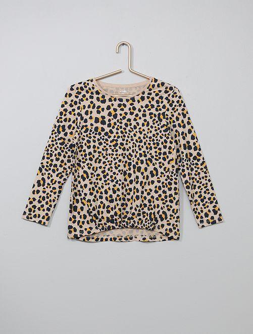 T-shirt resserré devant                                                                                                                 beige léopard