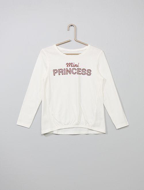 T-shirt resserré devant                                                                                                                                         blanc princesse Fille