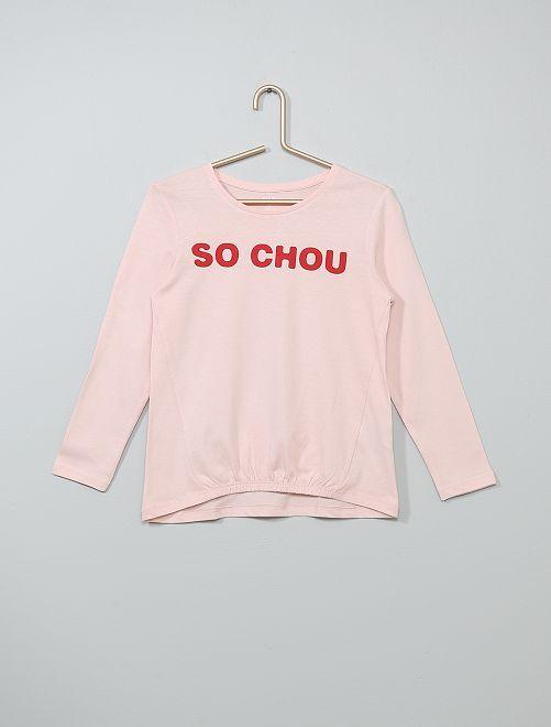 T-shirt resserré devant                                                                 rose chou