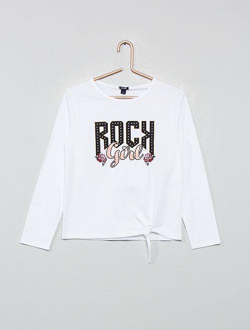 T-shirt 'rock' noué                                         blanc Fille