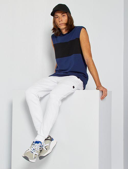 T-shirt sans manches color block                                         bleu foncé/noir