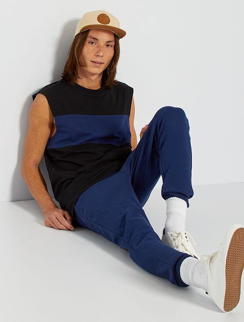 T-shirt sans manches color block                                         noir/bleu foncé