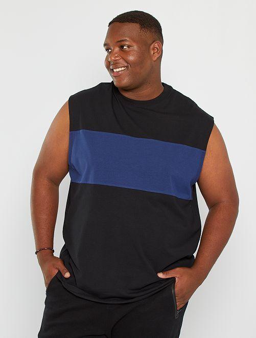 T-shirt sans manches color block                                                     noir/bleu marine