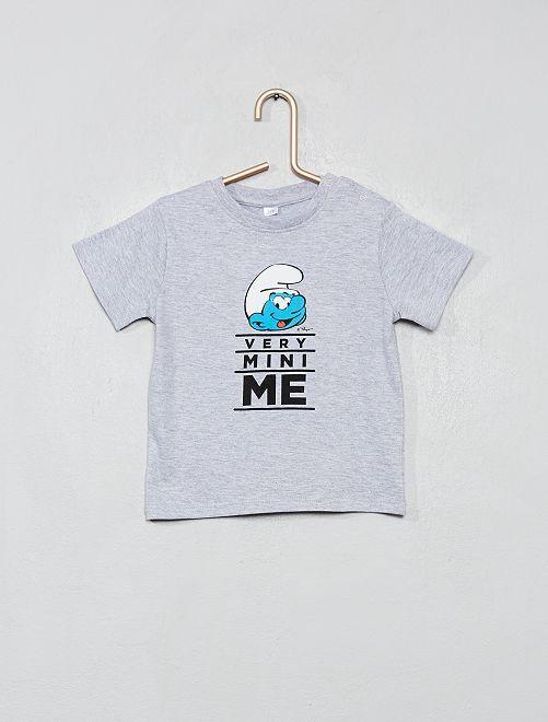 T-shirt 'Schtroumpf'                             gris chiné