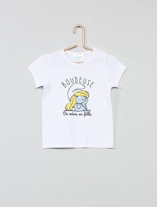 T-shirt 'Schtroumpfette'                             blanc Bébé fille