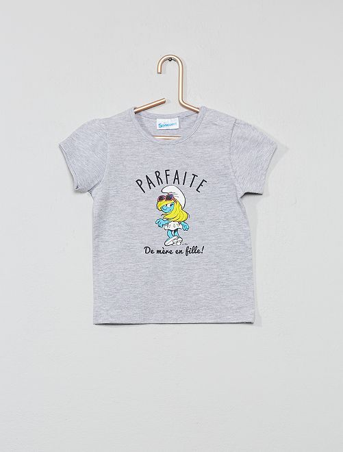 T-shirt 'Schtroumpfette'                             gris Bébé fille