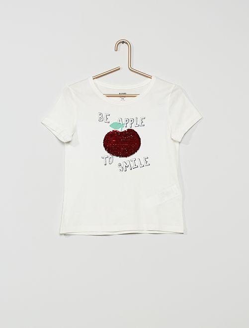 T-shirt sequins éco-conçu                                                     écru/pomme