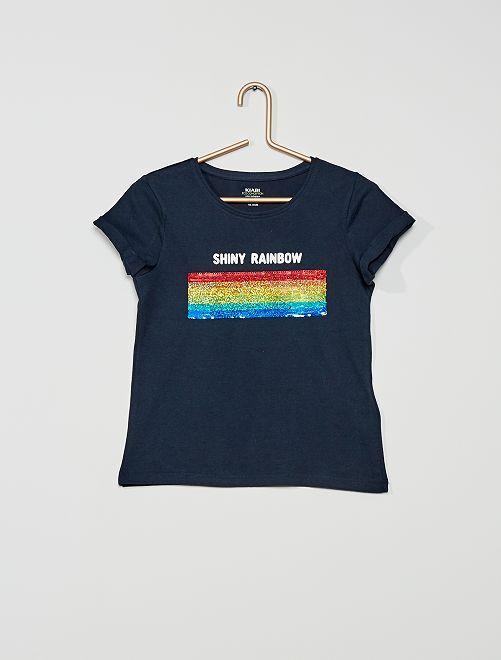 T-shirt sequins éco-conçu                                                     marine/arc-en-ciel
