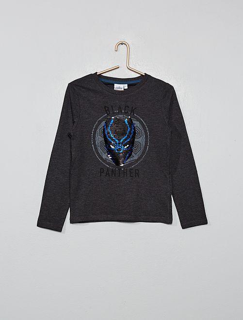 T-shirt sequins réversibles 'Black Panther'                             gris