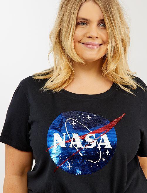 T-shirt sequins réversibles 'NASA'                             noir