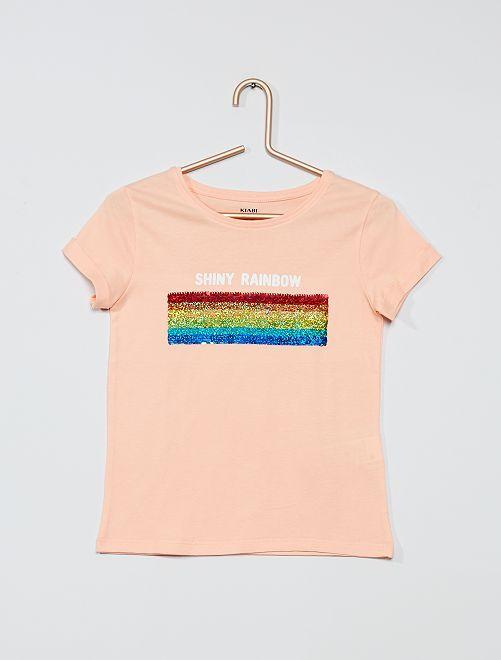 T-shirt sequins réversibles                                                                 pêche/arc-en-ciel