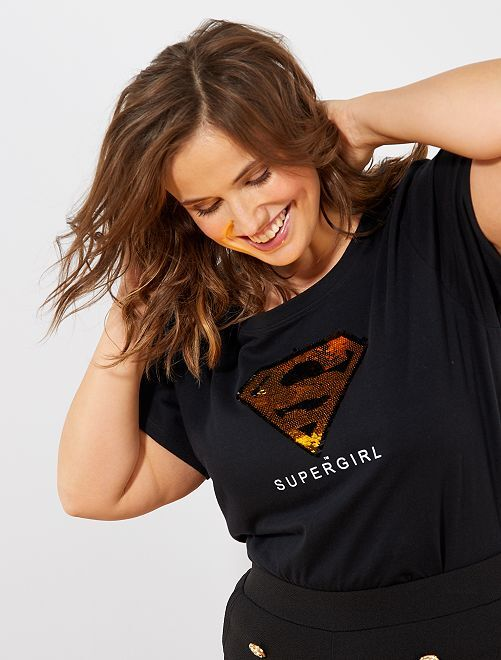 T-shirt sequins réversibles 'Supergirl'                             noir