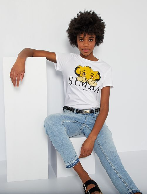 T-shirt 'Simba' 'Le roi lion' 'Disney'                             blanc