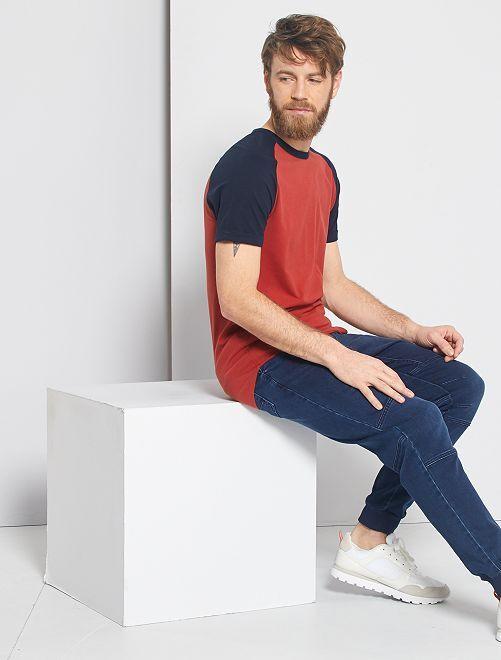 T-shirt slim bicolore 'éco-conception'                                                                 bleu marine/rouge